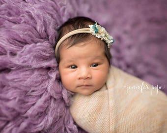 Beige cream teal headband,Elastic beige baby headband ,Photo prop headband fir newborn