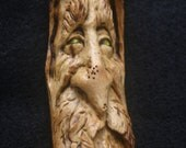 Old Man Wizard Greenman Tree Face Wood Spirit Magical Earth Magic Wiccan Weird Sculpture Hand Carved Woodcarving