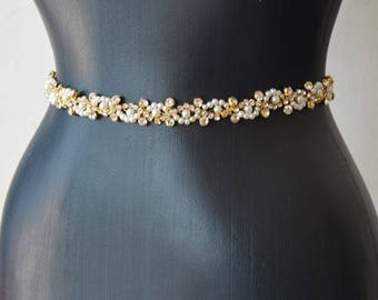 Pearl Bridal Belt, Wedding Dress Belt, Gold Belt, Pearl Bridal Sash, Belts for Wedding Dress, Bridesmaid Dress Accessories