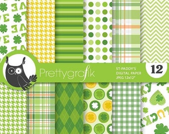 80% OFF SALE St-patrick's paper digital papers, commercial use, scrapbook papers, background - PS699