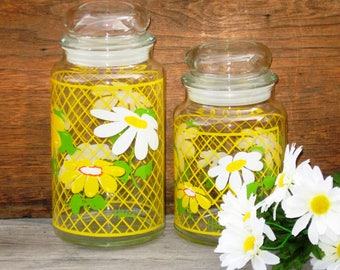 Vintage Hildi Daisy Canister Set, Yellow and White Daisy Pattern, Hildi Glassware 1960s Kitchen
