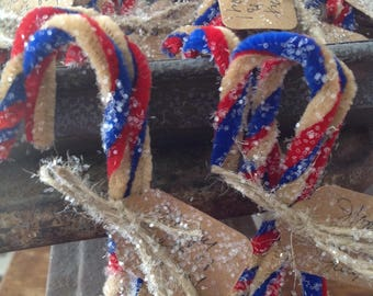Primitive Patriotic 4th of July Candy Canes Glittered n Tagged set of 3 Tied with Twine