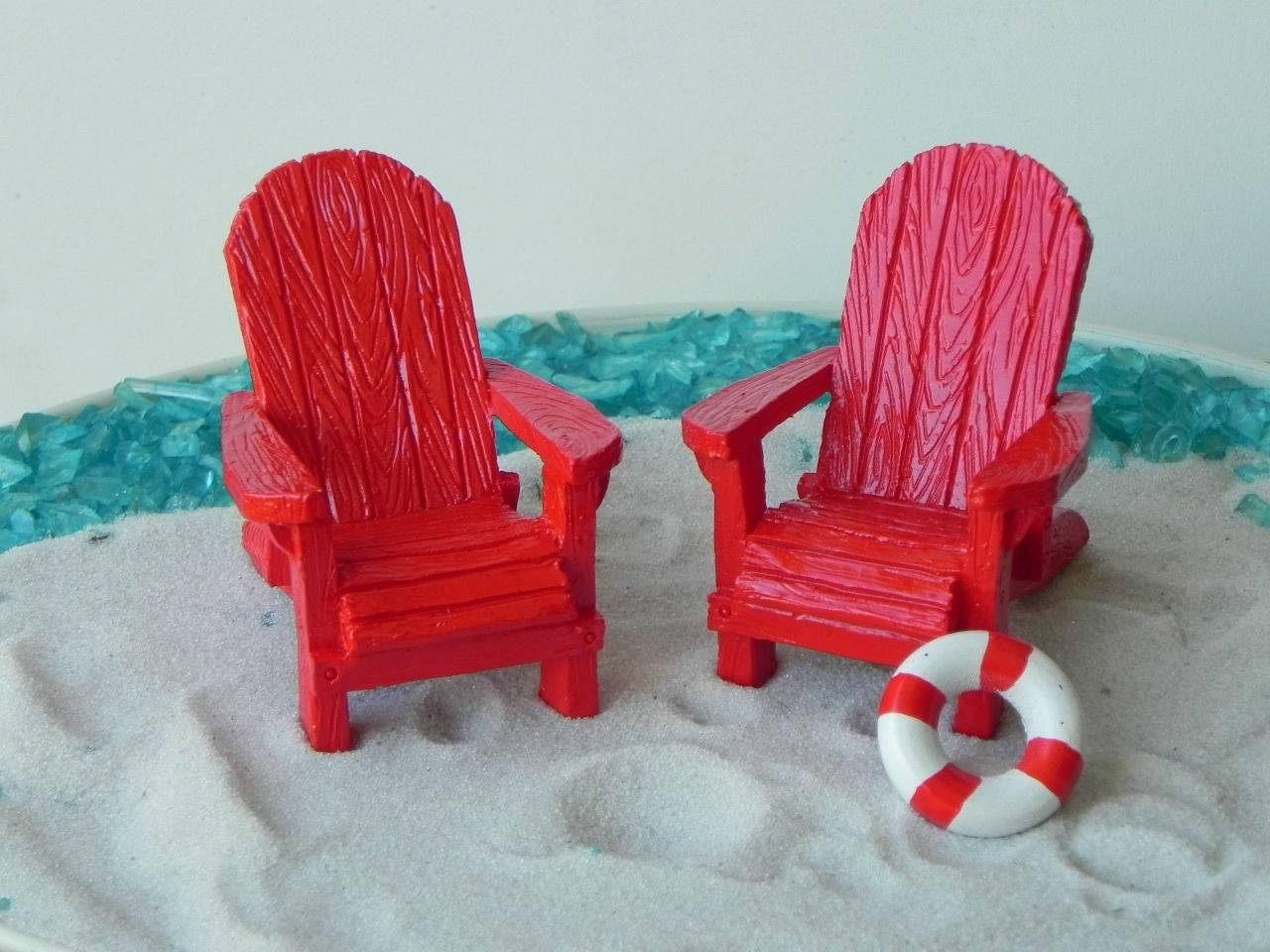 Miniature Adirondack Chair Fairy Beach Garden Supply Red
