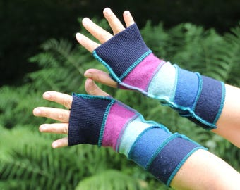 Upcycled Ladies Armwarmers, Wristwarmers, Fingerless Gloves. Handmade in UK from Recycled Wool Knitwear. Blue, Pink. Ethical fashion OOAK