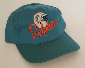 Vintage Miami Dolphins 100% Cotton AJD Snapback Hat NFL VTG