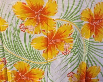 Floral Fringed Hawaiian Print Pareu/Sarong Or Beach Wear.