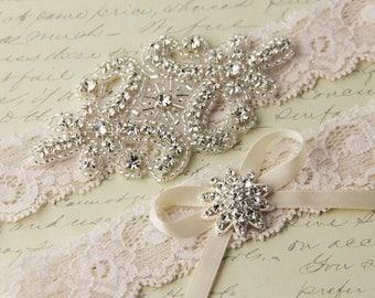 SUMMER SALE Ivory Lace Garter Set, Wedding Garter Set, Bridal garter Set, Rhinestone Garter, Ivory Garter, Crystal Garter
