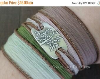 SUMMER SALE Silk Ribbon Wrap Bracelet Tree of Life Fine Silver Yoga Bracelet Earthy Bracelet Eco Jewelry Boho Bracelet Hand Dyed Silk