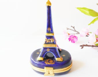 Limoges Box, Vintage Porcelain Box, Miniature Collectible, Eiffel Tower, French Porcelain, Limoges France