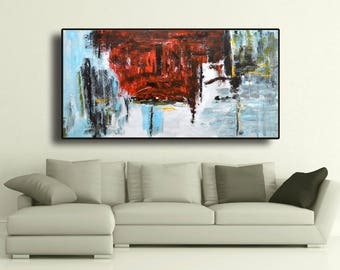 "72"" Original Abstract Acrylic Painting Extra Large Gray Black Red Blue Grey Wall Art Modern Art Decor UNSTRETCHED AUXXL009"