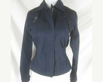 On sale Vtg 40s 50s Ski Train Womens Vintage Blue Gab Sanforized Ski Snow Jacket Coat