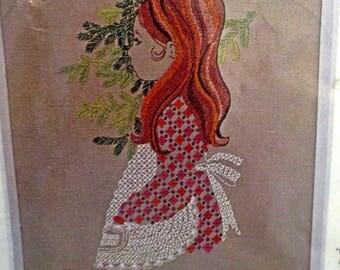 "Vtg Crewel Embroidery Kit "" Sweet Miss"" Bucilla 18"" x21"" for framing."