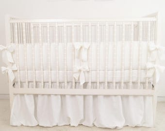 White crib  bedding - linen crib bedding -  skirt and bumper - gender neutral  crib bedding,