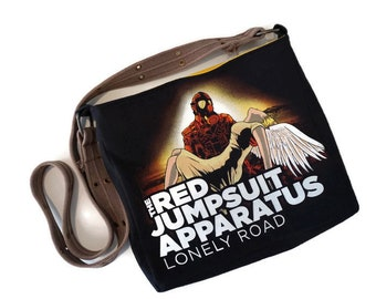 Upcycled T-shirt Handbag • The Red Jumpsuit Apparatus Bag • Upcycled Purse • Repurposed T-shirt