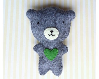 GREY TEDDY BEAR BROOCH