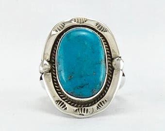 GENUINE SLEEPING BEAUTY Arizona natural turquoise vintage men's ring