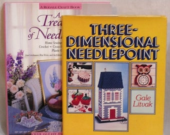 ON SALE LOT of Two Needlecraft Hc Books Treasury of Needlecraft and Three Dimensional Needlepoint with Many How-To Illustrations Patterns