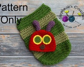 Crochet PATTERN - Newborn Hungry Caterpillar hat and cocoon Photo Prop Set -Instant Download PDF - Photography Prop Pattern