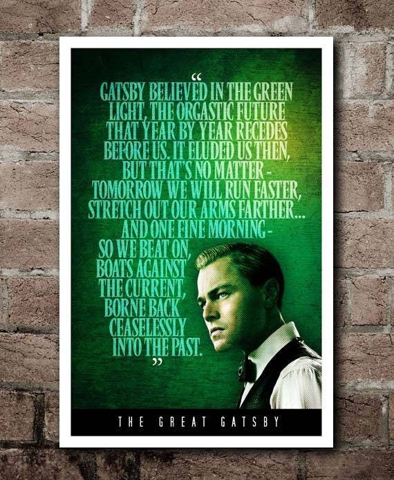 Green Light In The Great Gatsby Quotes: The Great Gatsby GREEN LIGHT Quote Poster