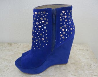 COBALT Blue SUEDE WEDGE Boots Size 6.5