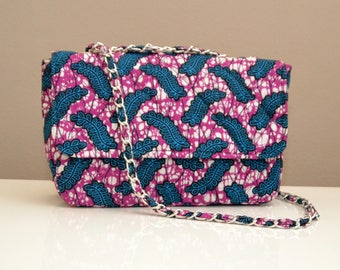 Quilted Ankara Bag - Blue and Magenta