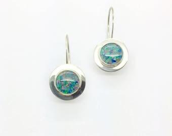 Opal Earrings, Mosaic Opal Earrings,Australian Opal Earrings