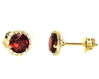 Fancy Red Garnet & Diamond Halo Maetini-Glass Stud Earrings 14k Yellow Gold
