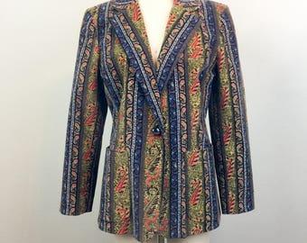 Vintage 80s 90s Paisley Stripe VELVET Blazer Jacket Harvé Benard M