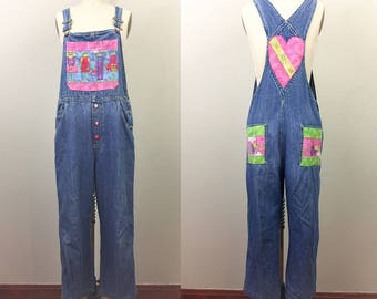 Vintage 90s Patchwork FROGS Blue Denim Overalls S