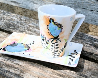 solitaire gourmet coffee - hand painted porcelain - Lunar and psychedelic flowers decor