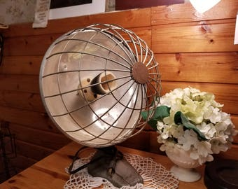 Vintage  50s Industrial Mid Century Modern  Art Deco Space Heater With Dome Cage Great Upcycle Piece