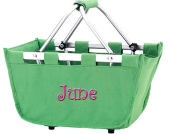Personalized Monogram Mini Market Tote Basket | Collapsible Folding Basket Tote | Picnic Grocery Car Tailgate Party | Green Mini Market Tote