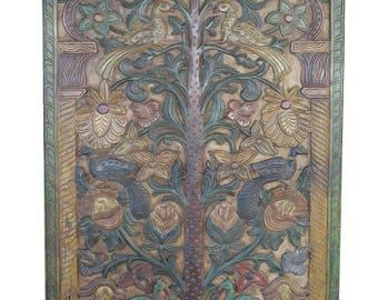 Farm House Bohemian Vintage Artisan Door Panel Hand Carved KALPAVRIKSHA Tree of Dreams Shabby Chic Decor