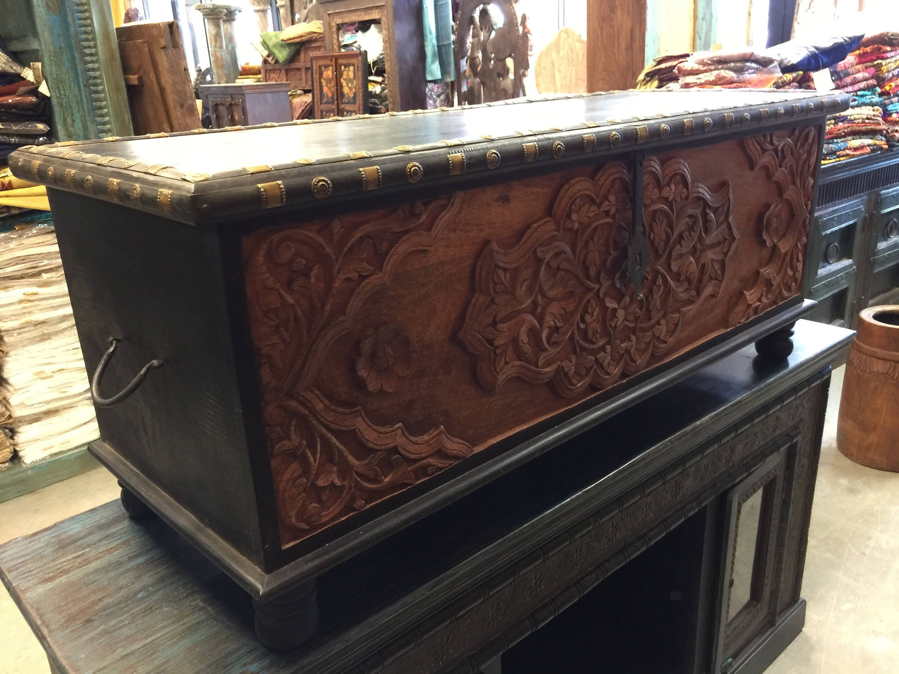 Calcutta Coffee Table Floral Carved Chest Dark Brown Rectangle