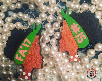 AKA Earrings Sorority Inspired Girls Women Alpha Kappa Alpha National Pink And Green College University Soror Pearls Sorors Girls Woman