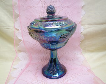 Blue Carnival Glass Pedestal Covered Candy Dish , Grape harvest Compote,  Candy Dish,