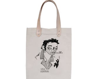 Tote Bag With leather straps - Screenprint Over Cotton Canvas Tote Bag Serge Gainsbourg