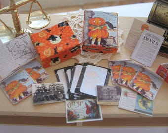 dollhouse halloween boxed pumpkin writing paper set 12th scale miniature