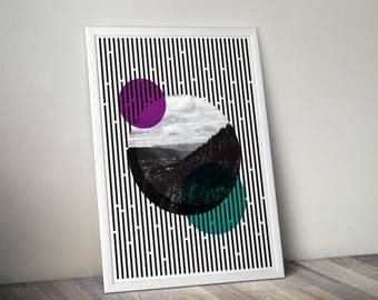 PLANETS (Planets Poster, Digital Poster, Geometric Poster, Monochrome)