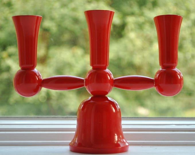 Scandinavian Modern Weiste Red Candleholder Finland Christmas