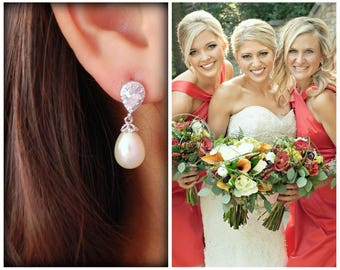 Pearl Bridal Earrings, Pearl drop earrings, cubic zirconia and pearl earrings, Teardrop Pearl Wedding Earrings