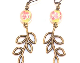 Twig earrings and flower beads