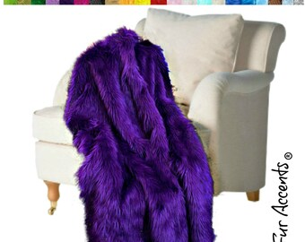 Plush Faux Fur Throw Blanket, Bedspread - Luxury Fur - Deep Purple Shag  - Minky Cuddle Fur Lining - Fur Accents USA