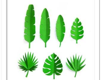 3D Large tropical leaves set - cutting file in SVG, STUDIO, PDF formats