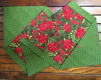 Folded fabric holiday ornament quilted easter egg christmas poinsettia holiday table runner 14 x 40 inch gifts under 20 table topper negle Gallery
