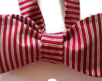 Silk Bow Tie for Men - Narrow Stripe - One-of-a-Kind, Self-tie - Free Shipping