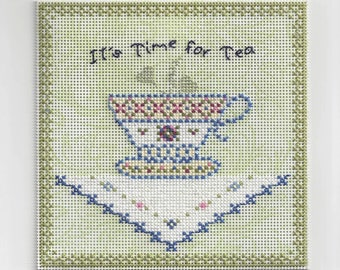 It's Time for Tea - Counted Cross Stitch Chart - PDF Instant Download
