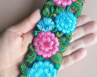 Black Fabric Trim With Pink, Blue And Green Floral Embroidery, 50mm wide - 200317L334