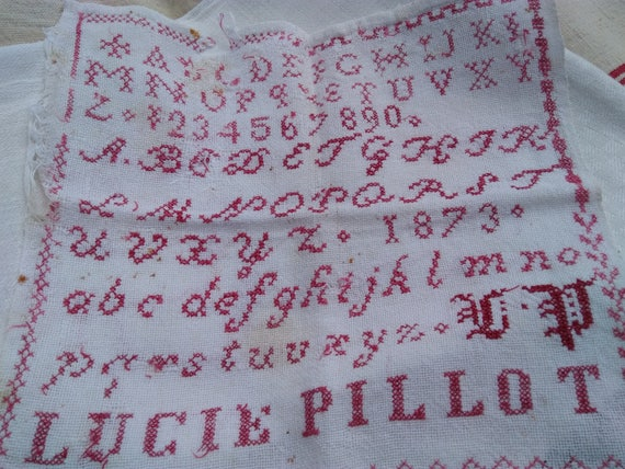 Alphabet Sampler 19th C. Sampler ABC Red-work Named Monogram Dated 1873 French Red hand embroidered Wall Art Collectible #SophieLadyDeParis