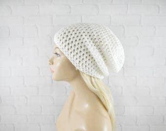 White Crochet Beanie, Slouchy Beanie, Womens Hat, Vegan Hat, Baggy Beanie, Hipster Beanie, Slouch Hat, Crochet Hat, Crochet Slouch Beanie